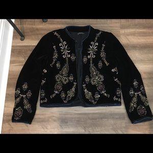 Zara black velvet embroidered/embellished jacket
